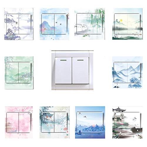 20 PCS Stile Cinese Adesivi per Interruttore, Adesivo per Interruttore Resistente all'Acqua per Interruttore Wall Stickers Decorazione Cameretta Interni Casa Adesivo Murale