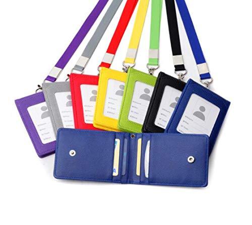 1 tarjetero multiusos de piel resistente para tarjetas de crédito, tarjetas de crédito, tarjetero, con ranuras para tarjetas, funda transparente y correa para el cuello 11.2x7.5cm negro