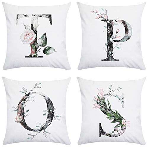 JZZCIDGa Cushion Pillow Covers Square Pillowcase For Sofa Beds Chairs Cushion Cover Set Of 4, 45 X 45 Cm Sofa Cover Letter