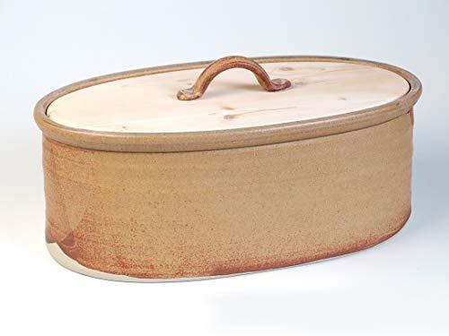 Brottopf – Oval, gelb-braun, Keramik/Holz, eine Variante der Familiengröße