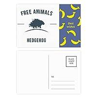 漫画のハリネズミ動物ブルーシルエット バナナのポストカードセットサンクスカード郵送側20個