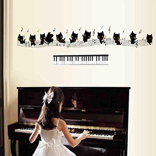JPDP Cat Note Staff Wall Stickers Stickers Children Kindergarten Classroom Piano Room Shop Decoration