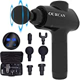 Ourcan Massage Gun, Back Massager Handheld Electric Body Massager Leg Massager Percussive Muscle Massage Gun Deep Tissue (Black (Digital Display))