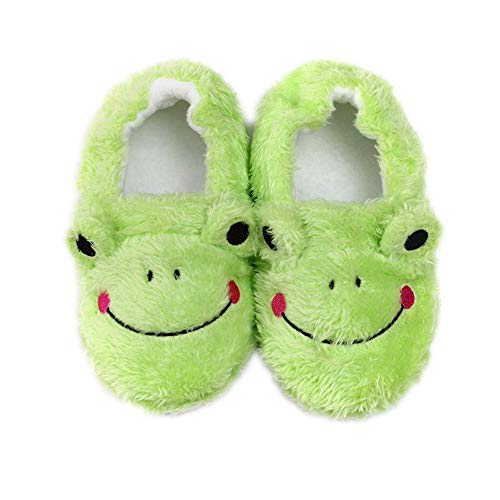 Toddler Boys Slippers Cute Warm Plush Indoor Bedroom House Shoes, Frog 5-6 Toddler