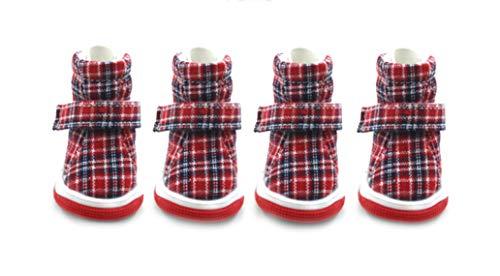 Plaid Dog Shoes Pet Schuhe für Hunde Katzen Frühling und Herbst Stiefel Skidproof Boot Einstellbare Paw Protector 4pcs / Set