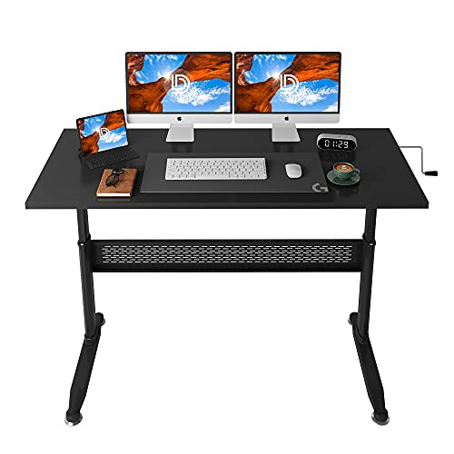 DEVAISE Adjustable Height Standing Desk, 55 inch Sit Stand Up Desk Workstation with Crank Handle for Office Home, Black