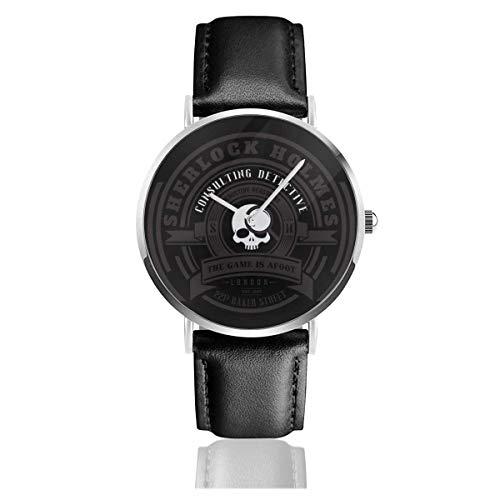 Uhren Quarz Leder Schwarzes Band Junge Kollektion Geschenk Unisex Business Casual Sherlock Holmes Consulting Detective