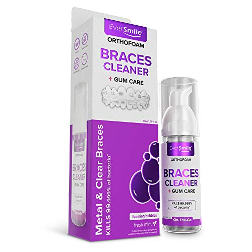 OrthoFoam Braces Cleaner - Cleans Under Metal, Ceramic or Clear Brackets & Wires. Can Brush or Rinse With & Use in Trays. Foaming Bubbles Whiten Teeth & Fight Plaque (1 pack)(Packaging May Vary)