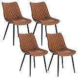 WOLTU 4 x Esszimmerstühle 4er Set Esszimmerstuhl Küchenstuhl Polsterstuhl Design Stuhl mit Rückenlehne, mit Sitzfläche aus Kunstleder, Gestell aus Metall, Antiklederoptik, Hellbraun, BH210hbr-4