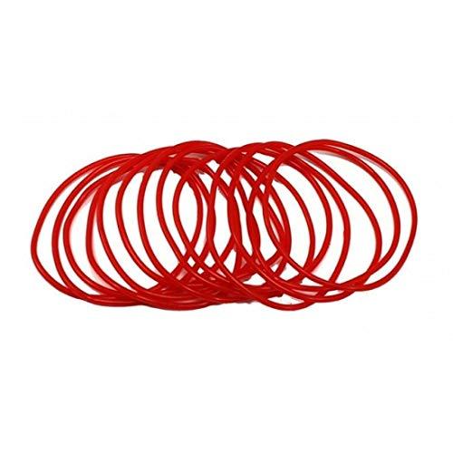 Hi Fashionz Neon Perlen Halskette Armreifen Kost�m Zubeh�r 80er Jahre Disco Party Schmuck (Red Gummy Bangles) One Size