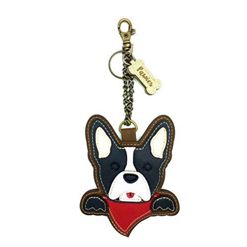French Bulldog Handmade Keychain Vegan leather for dog lovers (Tan)