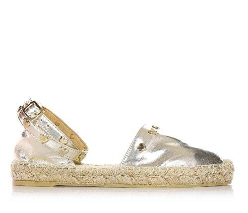 TWIN-SET - Goldene Espadrilles aus Leder, mit Schnallenverschluss, Kind, Mädchen, Frau, Gelb - gold - Größe: 34 EU