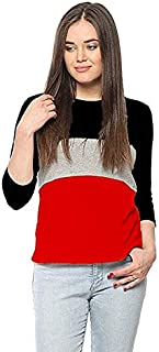 Ytrick Women Multicolor Cotton Tshirts Red