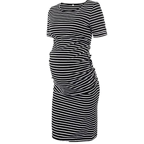 Amaeen Vestidos Verano Mujer Largo Color SóLido Ropa Premamá Casual Ropa de Maternidad Camiseta de Lactancia Falda de Cuello Redondo