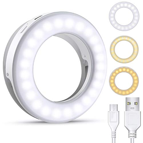 (2020 Upgraded New Version) Selfie Ring Light, 3 Lighting Modes Rechargeable Clip on Selfie Fill Light, Adjustable Brightness Phone Camera Circle Light for iPhone X Xr XsMax 11 Pro Android iPad Laptop