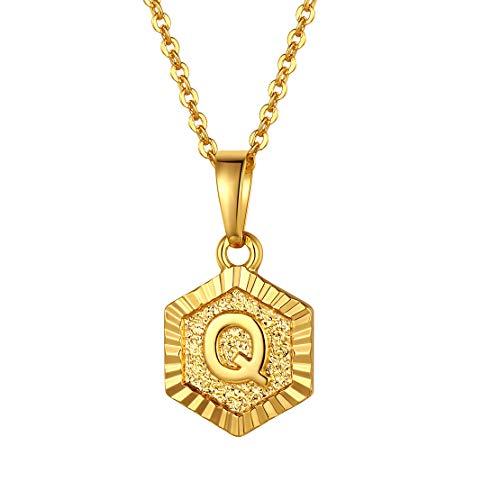 FindChic イニシャルネックレスQ レディース ペンダントトップ 18金 18k ゴールド 真鍮 小さめ 六角形 おしゃれ 大人可愛い 女性 プレゼント