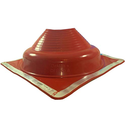 Dektite Premium #8 Red Silicone Metal Roof Pipe Flashing, High Temp, Square Base, Pipe OD 6-3/4' to 14'
