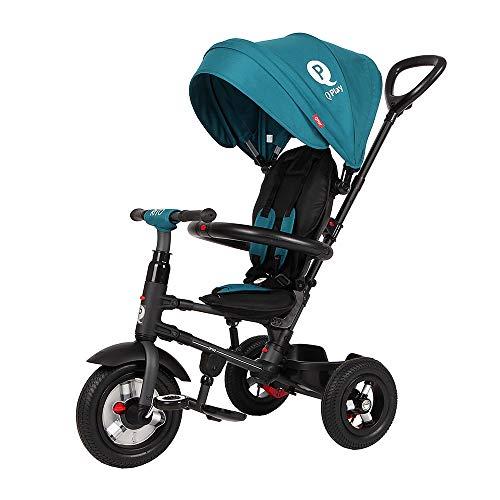 QPLAY Triciclo Evolutivo para Bebés Rito Air - Plegable - con Pedales - Verde - De 10 a 36 Meses - Peso máximo soportable 25kg
