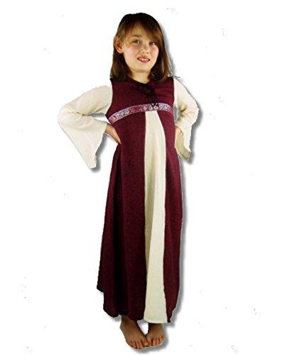 Leonardo Carbone Mittelalter Kleider kleine Maid - Kinder Adelskleid - Kinder Piccola Donna XS/rot/Natur