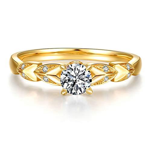 Daesar Anillo Oro Amarillo 18K,Anillos de Compromiso Mujer Oro Hojas con Redondo 0.2ct Diamante Blanco 0.01ct Anillo Talla 12