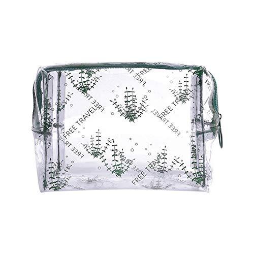 WUCHENG Bolsa de cosmética transparente para mujeres con estampado de dibujos animados portátil impermeable de PVC de viaje de viaje bolso de almacenamiento con cremallera Organizador de maquillaje bo