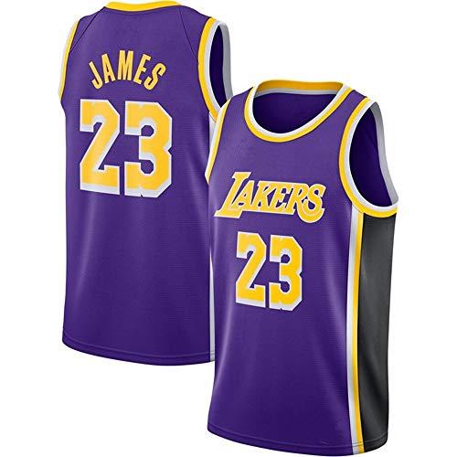 Lalagofe Lebron James, Los Angeles Lakers #23 Basket Jersey Maglia Canotta, Viola, Un Nuovo Tessuto Ricamato, Stile di Abbigliamento Sportivo (M)