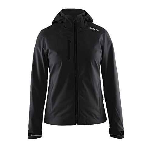 Craft Leichte Softshell-Jacke für Herren, 3-lagig, mit Abnehmbarer Kapuze und verstellbaren Ärmelbündchen, Schwarz, Größe XL