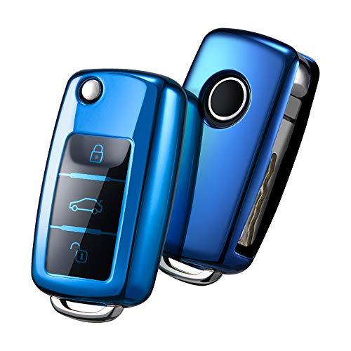 OATSBASF Autoschlüssel Hülle VW,VW Golf Schlüsselbox,Schlüsselhülle Cover für vw Polo Passat Skoda Seat 3-Tasten(Blau)[Verpackung:MEHRWEG]