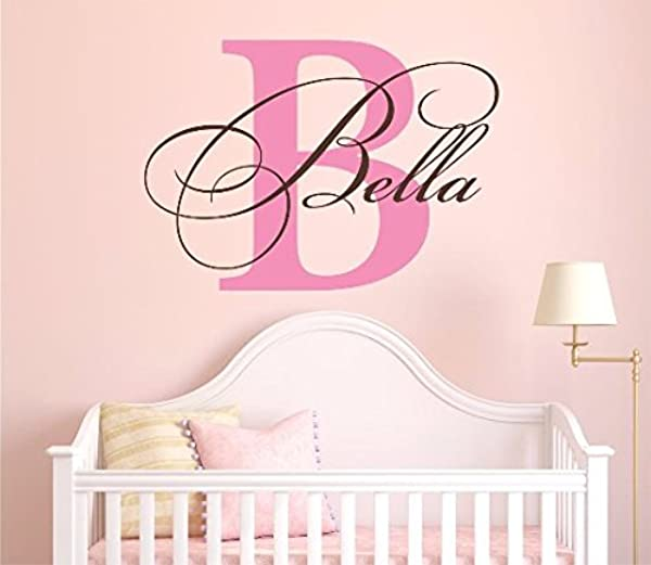 Nursery Custom Name And Initial Wall Decal Sticker 40 W By 28 H Girl Name Wall Decal Girls Name Wall Decor Personalized Name Decor Girls Nursery Bedroom Baby Decor Plus Free Hello Door Decal