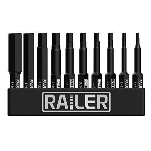 Railer 10 Pack SAE Hex Head Allen Wrench Drill Bit Set. Premium S2 Steel 2 Inch SAE Hex Bit Set With Quick Release Shank and a Storage Bitrail - Perfect for Ikea Type Furniture