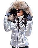 Aox Donne Inverno Faux Fur Cappuccio Giù Cappotto Signora Addensare Puffer Slim Zipper Giacca Parka Marrone e argento. 40
