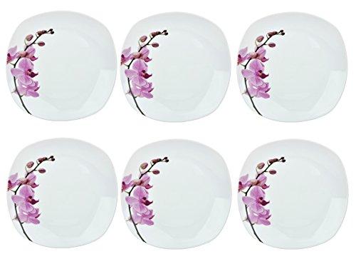 Van Well Kyoto Lot de 6 assiettes plates 250 x 250 mm, assiettes de table, grandes assiettes, assiettes de service, vaisselle en porcelaine, motif floral, orchidée, rose/rouge, rose