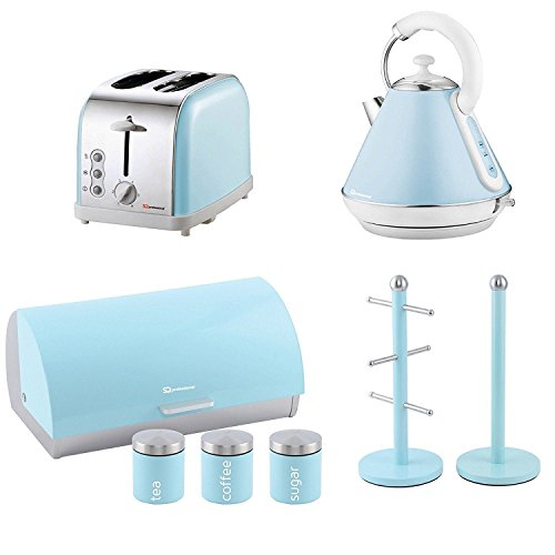 Passende Küche Set von vier Elemente: Toaster, Wasserkocher, Brotkasten und Kanister und Becherbaum und Küchenrollenhalter stehen, Set in Skyline (Himmel blau)