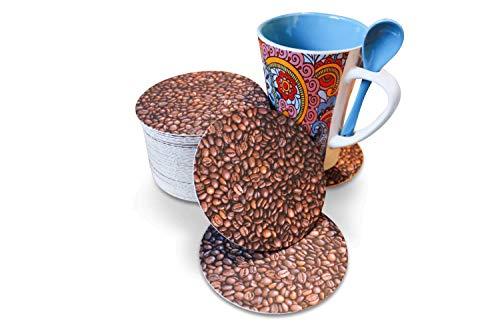 Recreatio Kaffee Untersetzer | 50 Stück | Doppelseitig Bedruckte Design Pappe | Rund | Für Getränke/Glas/Gläser/Tasse/Tassen