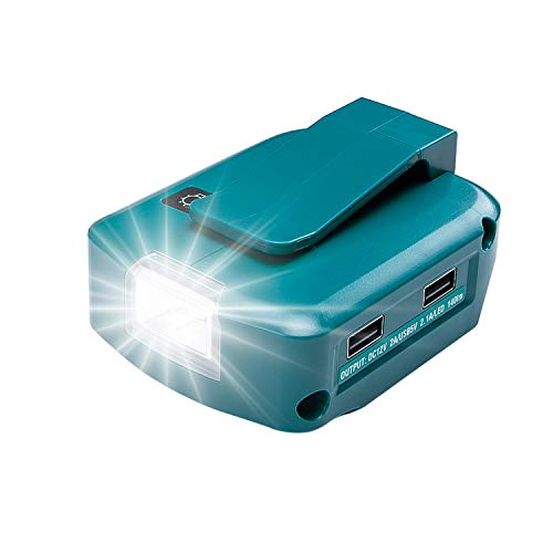 WaxPar 互換 ADP05 LED ライト付き マキタ USB電源アダプタ14.4V/18Vバッテリ用 BL1415、BL1430、BL1430B、BL1440、BL1450、BL1460、BL1460B、BL1815、BL1815N、BL1830、B