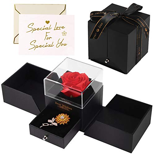 Minterest Rose Eternelle Boite Cadeau,Cadeau Femme Anniversaire Rose Artificielle Boîte à Bijoux avec Broche Fleur de Soleil en Strass et Carte de Voeux