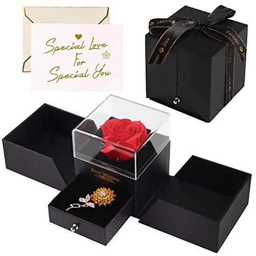 Minterest Rosa Eterna,Rosa Bella y Bestia con Broche de Girasol y Tarjeta,Regalos para Madres,Cumpleaños,Bodas,Aniversario,San Valentin