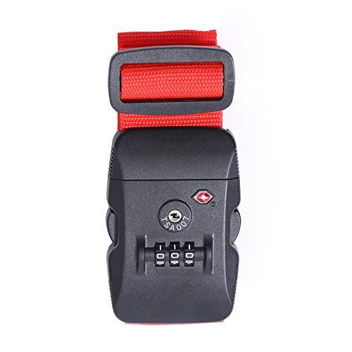 Logic(ロジック) スーツケースベルト TSAロック ベルト (全12色 レッド 赤) [盗難・紛失・荷崩れ防止] スーツケース用 鍵付き ダイヤルロック タスロック 長さ調節可能