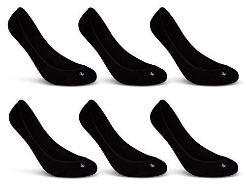 6 Paar Damen Sneaker Socken Füßlinge Baumwolle Schwarz Weiß Beige - 15500 (35-38, 6 Paar | Schwarz)