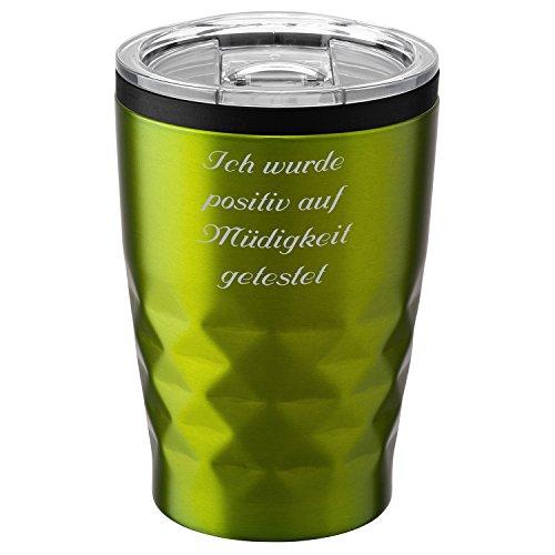 Metmaxx® Thermobecher Office Cup Aroma 380 ml Grün mit Rund-Gravur Edelstahl verschließbar
