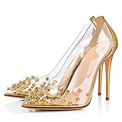 Rhinestone Studded Pointy Toe Mid Spike Heels In Gold