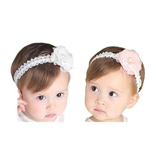 Hocaies 2 Stück Baby Kinder Haarband Mädchen Stirnband Kopfband Blumen Blüte Haarschmuck Headband Hairband Babygeschenke Taufe Geschenksets (01)