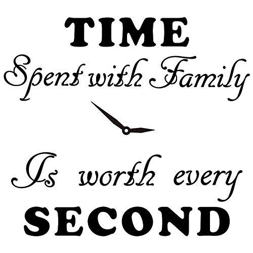 Dior Time Spent with Family is Worth Jede Sekunde, Aufkleber Uhr, Wand Aufkleber, Home Aufkleber (Keine Fotos und Foto-Rahmen im Lieferumfang Enthalten)