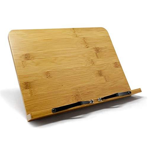 Atril para libros en Bambú | Soportes para libros de recetas | Soporte libros de cocina con posa brazos ajustable | Atril libros de recetas para cocina de bambú