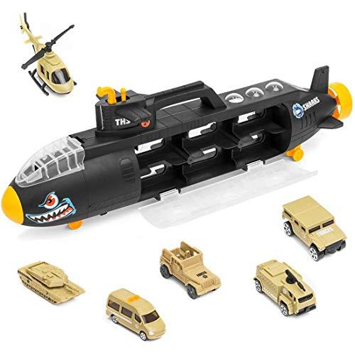 deAO Tiburón Militar Vehículo de Combate Maletín Transportador Portacoches Unidad de Defensa Sub de Las Fuerzas Armadas Incluye 6 Vehículos