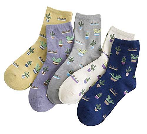 Kfnire Mujer 3D calcetines de pintura animal que tejen calcetines de lana de lana, 4 pares / 5 pares / 6 pares (6 pares Cactus)