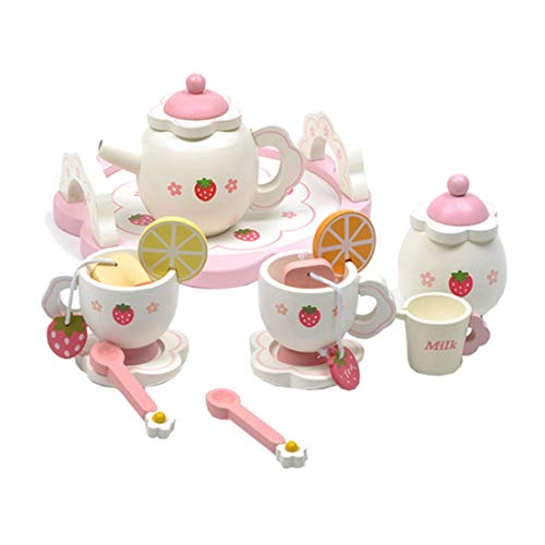 K9CK Set de Té Infantil, Set de Picnic Vajilla de Té de Madera Juguete Niños y Niñas Incluye 14 Accesorios Juegos de Roles - Rosa