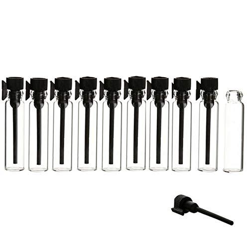 FANGLMY Botella contenedor 10 unids/Pack 1ml 2ml 3ml Negro Claro Mini Perfume Botella de Cristal vacío cosméticos de la Botella de la Muestra del Tubo de ensayo de los Viales Finos Artículos de Viaje