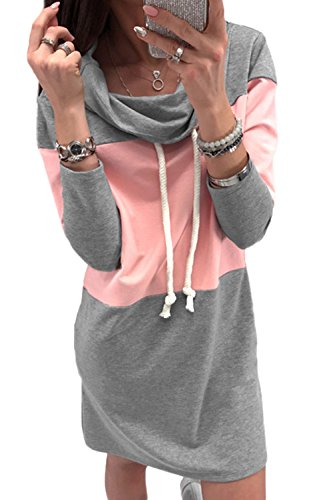 La Mujer Casual Vestido De Cuello Tortuga con Cordon Larga Sudadera Pullover Pink L
