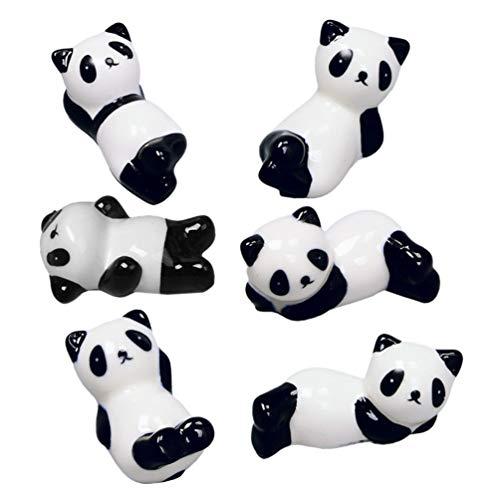 ifundom 6 Piezas de Cerámica Cuchara Reposa Mini Panda Figuras Palillos Soporte Espátula Cucharón Soporte Servidor Utensilio Reposa Espátula Soporte para La Decoración de La Mesa del